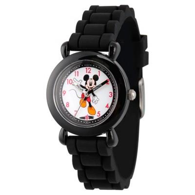 Boys' Disney Mickey Mouse Black Plastic Time Teacher Watch - Black