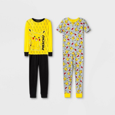 Boys' Pokemon 4pc Pajama Set - Yellow/Black/Gray
