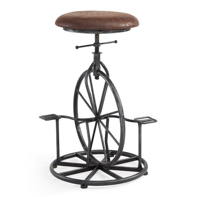Harlem Adjustable Industrial Metal Bicycle Barstool in Industrial Gray finish with Wrangler Fabric - Armen Living