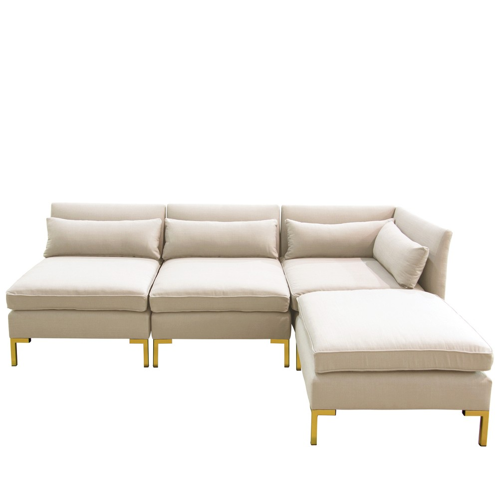 Image of 4pc Alexis Sectional with Brass Metal Y Legs Talc Linen - Cloth & Company