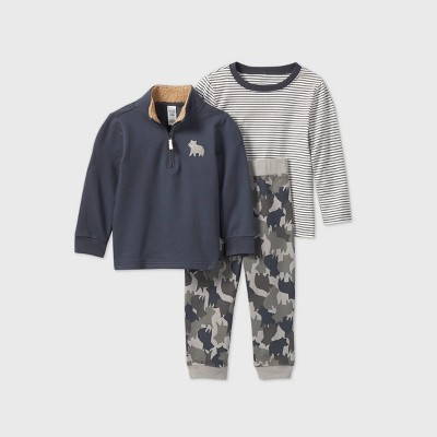 Toddler Boys' 3pc Camo Top & Bottom Set - Just One You® made by carter's Blue/Gray 2T
