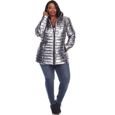 Women's Plus Size Metallic Puffer Coat - White Mark