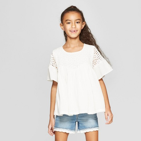 Girls' Embroidered Bell Sleeve Peasant Top - Cat & Jack™ Ivory - image 1 of 3