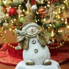 """Northlight 17"""" White and Brown Whimsical Snowshoeing Ceramic Christmas Snowman Tabletop Figure - image 2 of 2"""