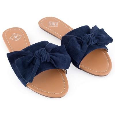 Gallery Seven - Women's Suede Bow Slide Sandals