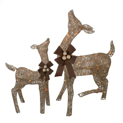 J. Hofert Co Set of 2 Brown Lighted Standing Doe and Fawn with Jingle Bells Outdoor Christmas Decorations