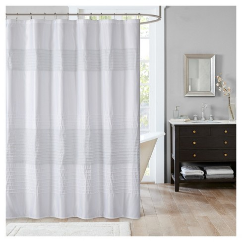 Salem Stripe Block Metallic Pieced Pintuck Shower Curtain