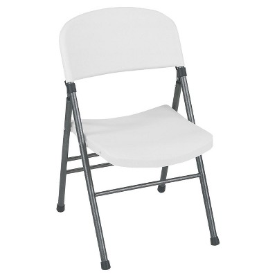 Resin Folding Chair with Molded Seat and Back - White Speckle (Set of 4)- Cosco