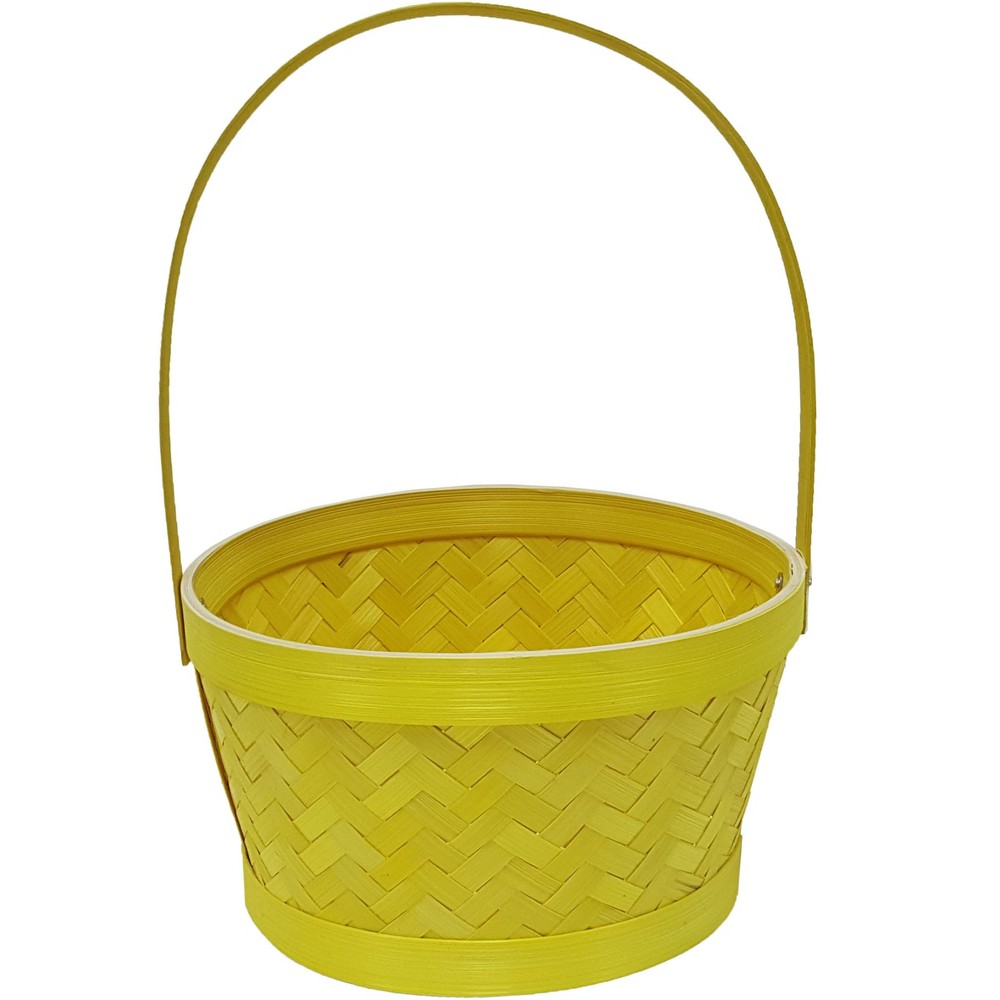Easter Medium Herringbone Bamboo Yellow Basket - Spritz