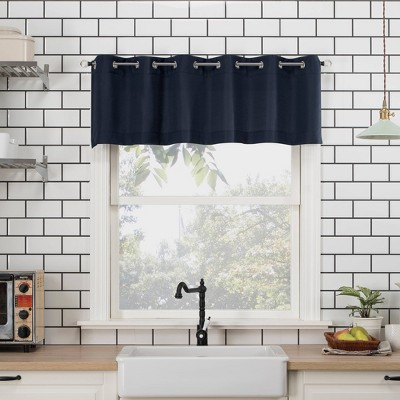 "14""x54"" Dylan Casual Textured Semi-Sheer Grommet Kitchen Curtain Valance - No. 918"
