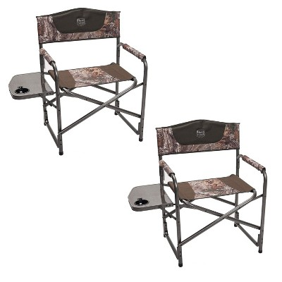 Timber Ridge Indoor Outdoor Portable Lightweight Aluminum Frame Folding Camping Directors Chair with Side Tables, Camo (2 Pack)