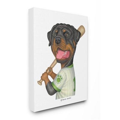 Stupell Industries Rottweiler Baseball Player Family Dog Sports Target