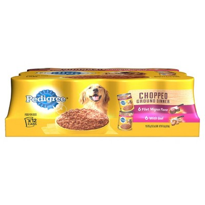 Pedigree Traditional Ground Dinner Filet Mignon & Beef Dry Dog Food - 12ct