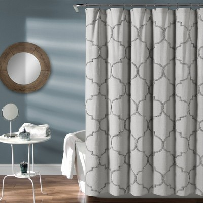 Avon Chenille Trellis Shower Curtain Light Gray - Lush Décor