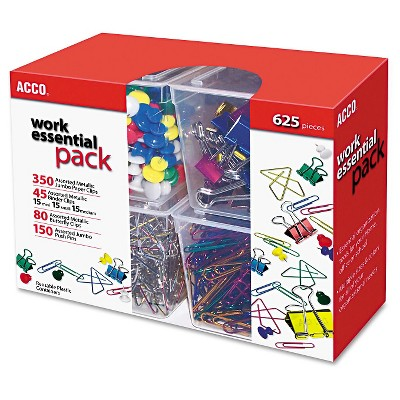 ACCO Club Clip Pack - 80 Ideal, 45 Binder, 350 Jumbo Paper Clips, 150 Push Pins
