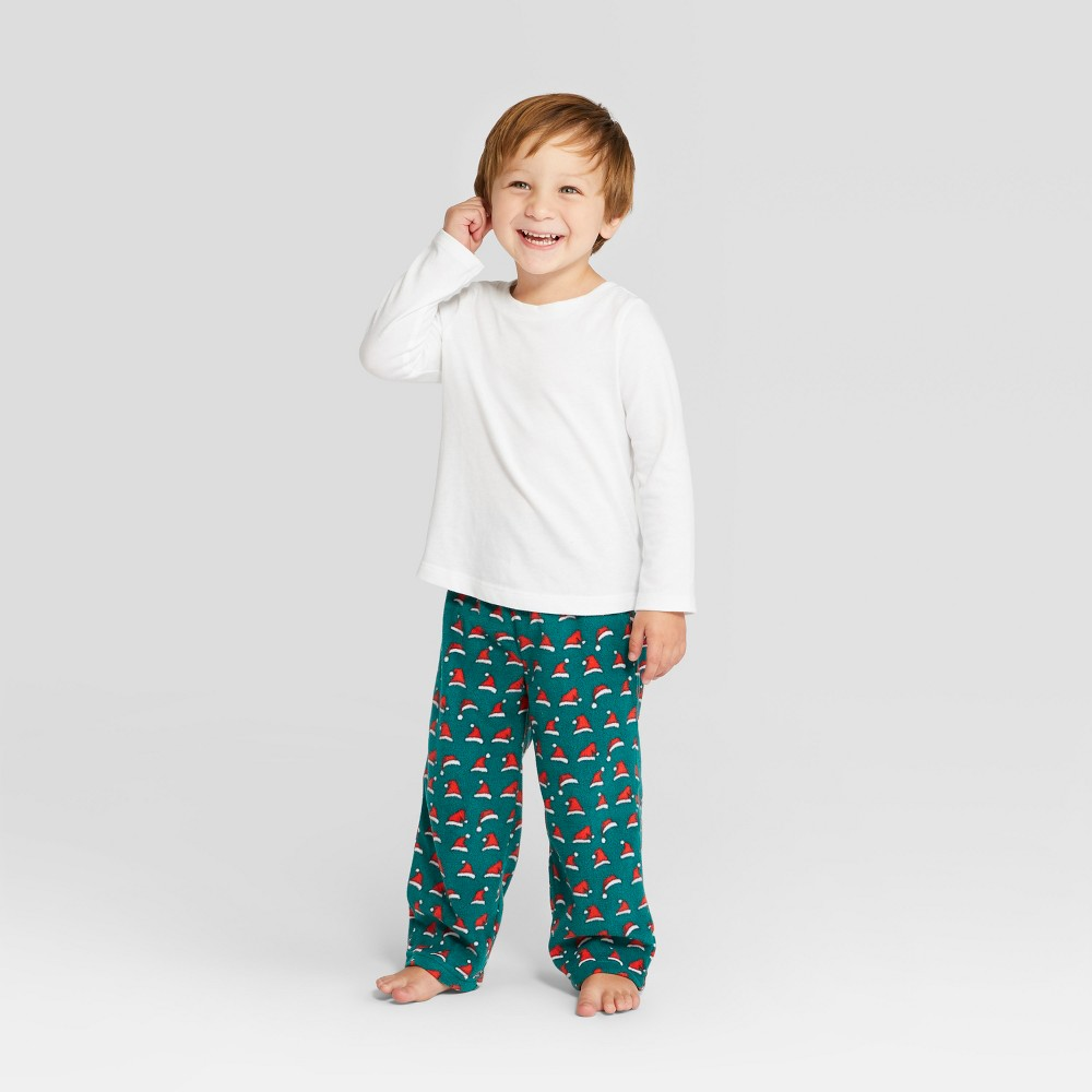 Toddler Holiday Santa Hat Pajama Pants - Wondershop Green 18M, Toddler Unisex