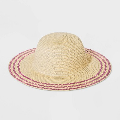 Girls' Straw Floppy Hat - Cat & Jack™ Cream One Size