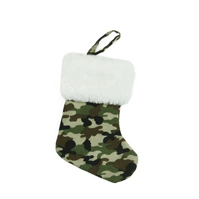 """Northlight 7"""" Army Camouflage Mini Christmas Stocking with White Cuff"""