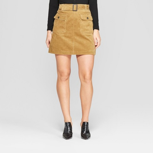 Women's Cord Mini Skirt- Who What Wear™ Brown 14 - image 1 of 3