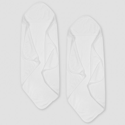 Gerber Baby's Organic Cotton 2pk Terry Hooded Towel - White One Size
