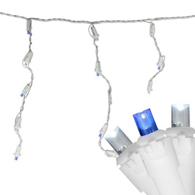 Brite Star 60ct Wide Angle LED Twinkling Icicle String Lights Blue/Pure White - 8.6' White Wire