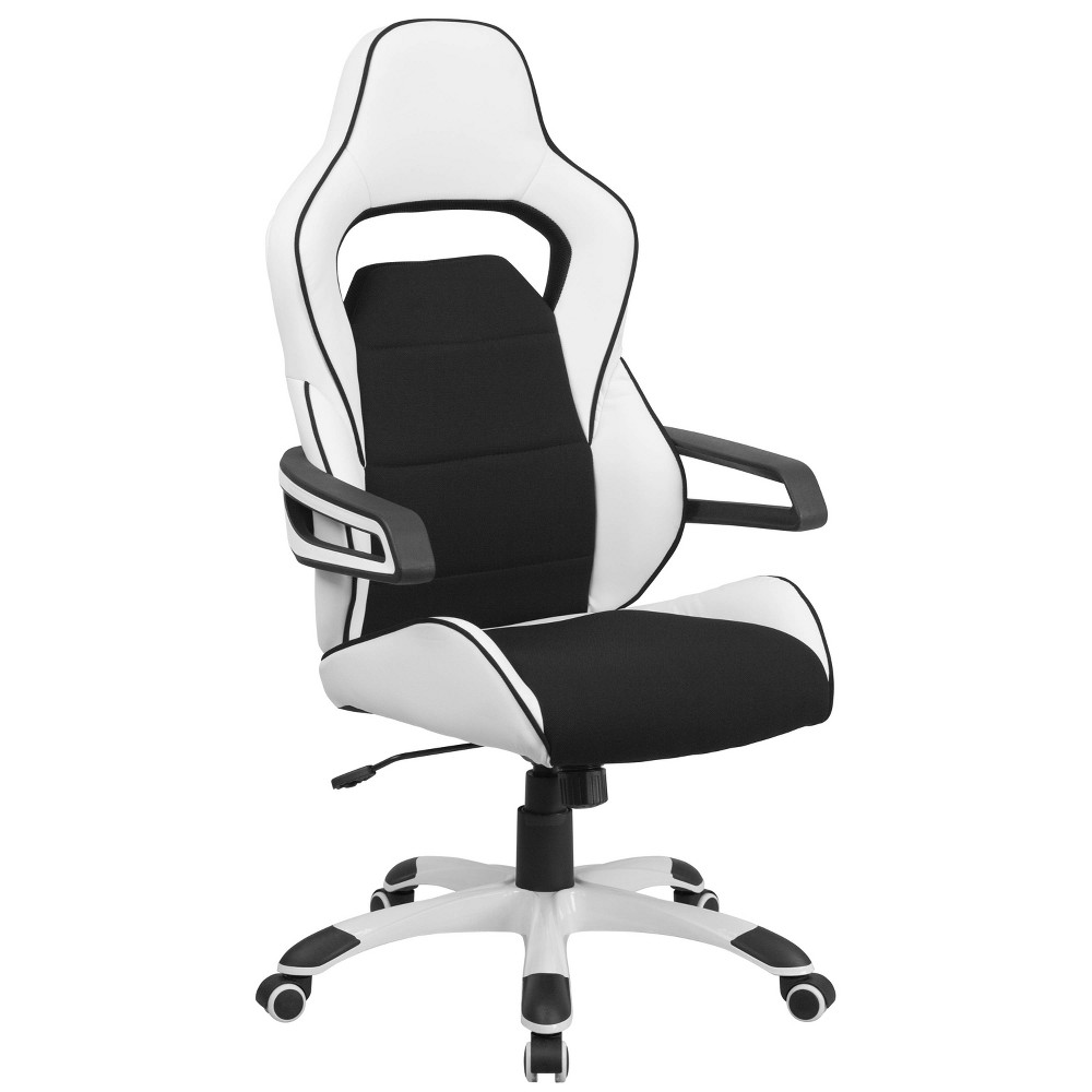 Executive Swivel Office Chair with Black Fabric Inserts White Vinyl - Flash Furniture