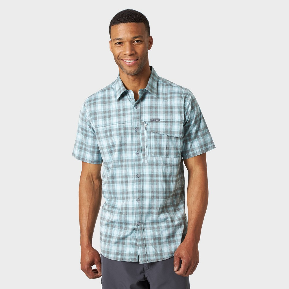 Wrangler Mens Plaid Classic Fit Short Sleeve Camp Shirt Green 2XL