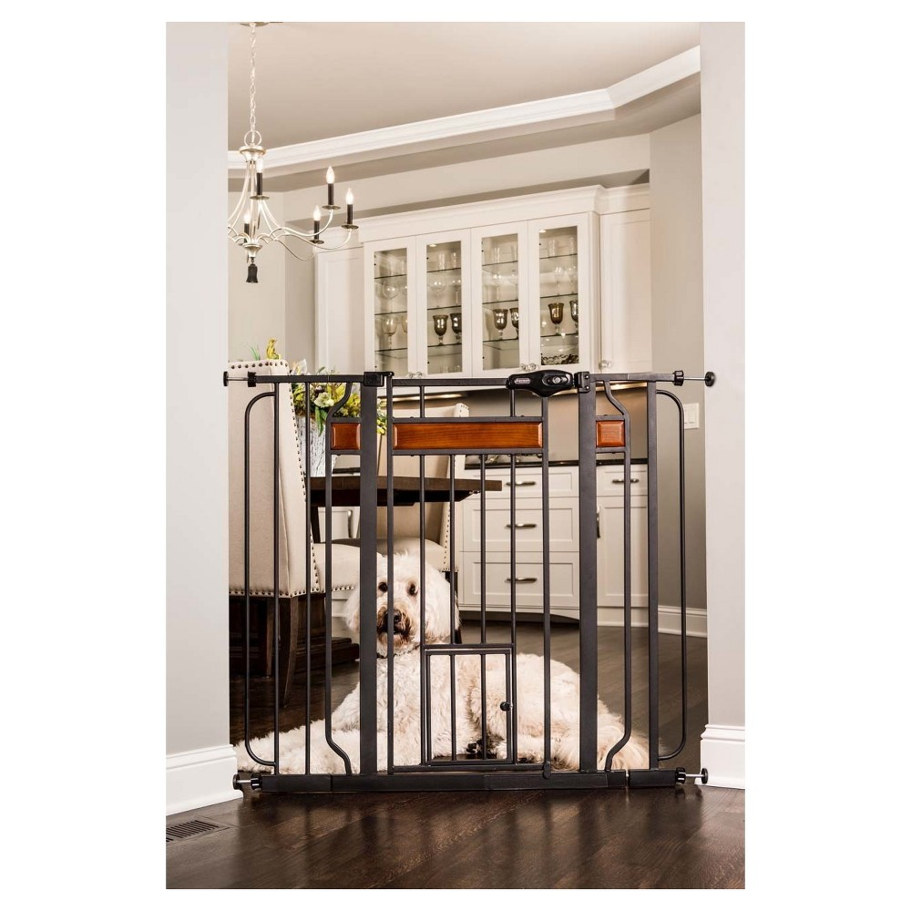 Carlson Dogs Walk Through Gate with Wood Accents - Black - Extra Tall