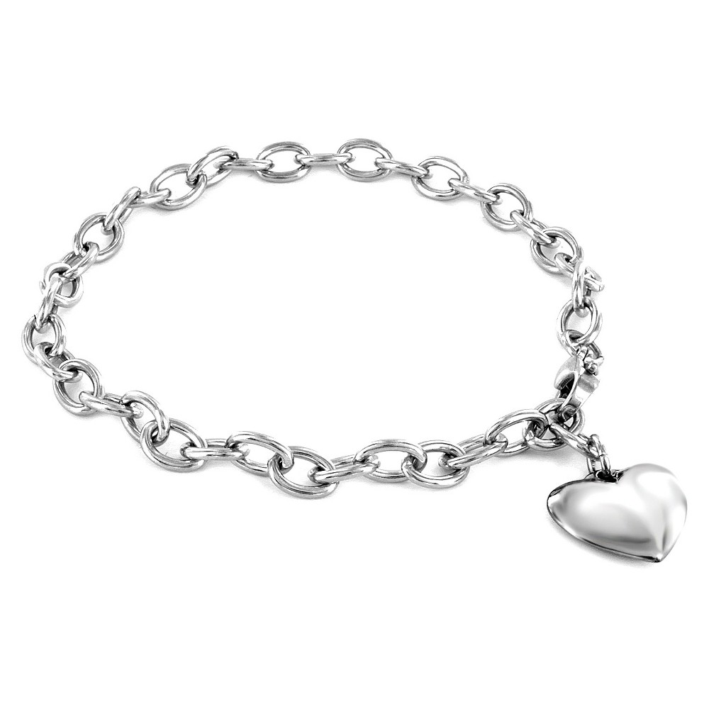 Image of ELYA Stainless Steel Polished Heart Charm Bracelet, Women's, Silver/Silver