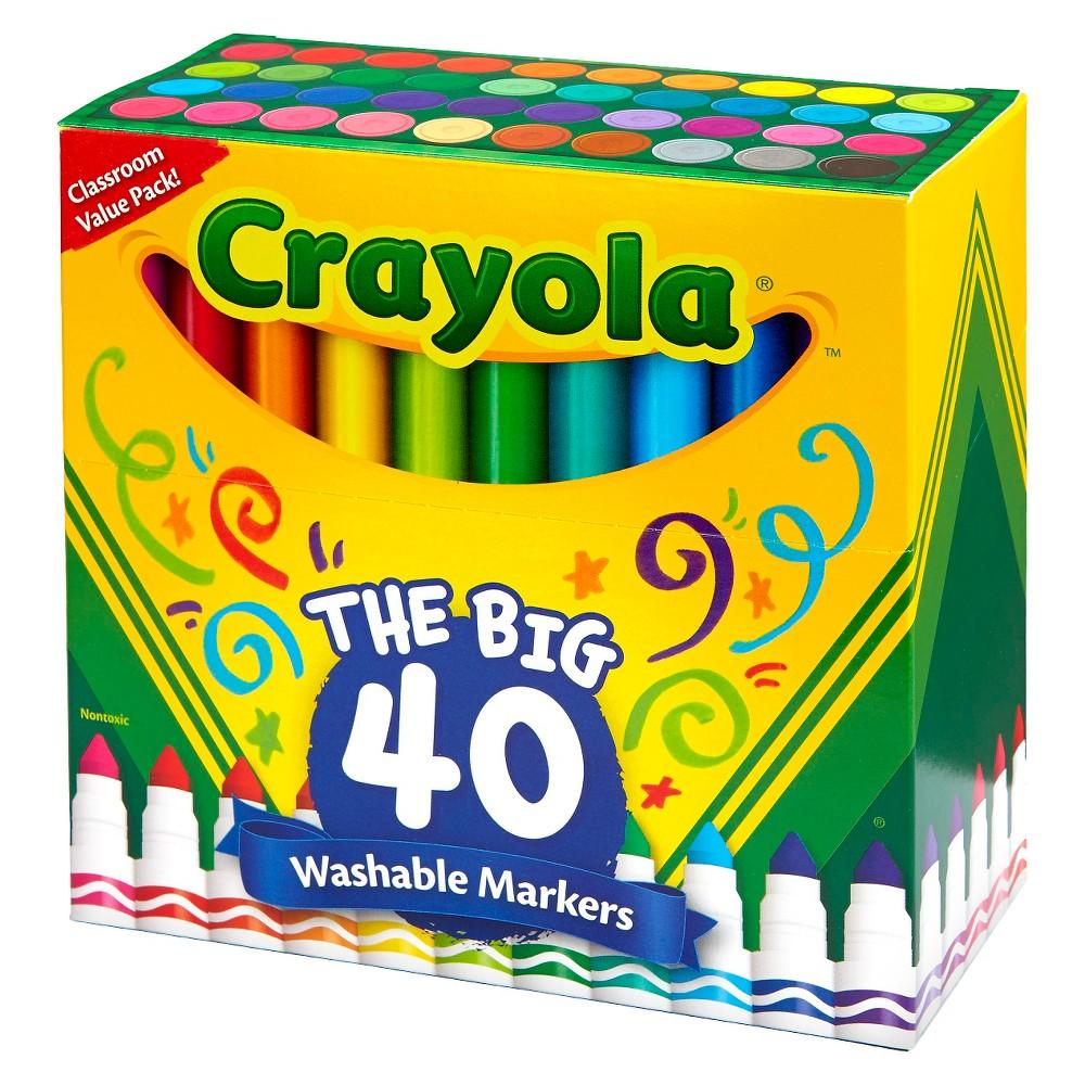 Crayola Classpack UltraClean Washable Broadline Markers - 40ct, Multi-Colored