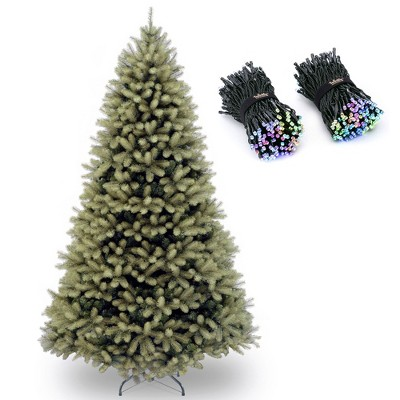 National Tree Company Downswept Douglas 7 Foot Unlit Christmas Tree Bundle with Twinkly 400 LED RGB Multicolor 105 Foot String Lights, Bluetooth WiFi