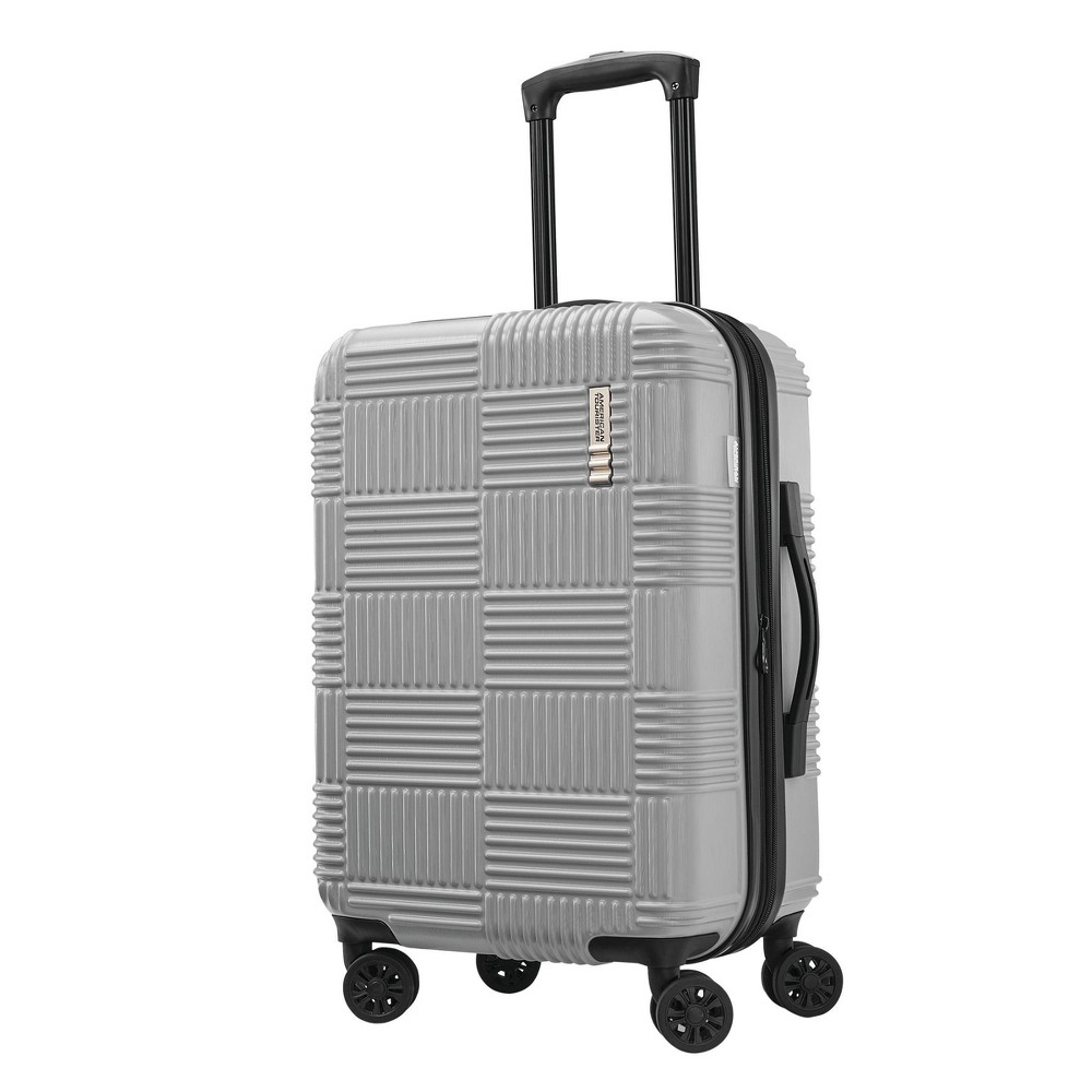"Image of ""American Tourister 20"""" Checkered Hardside Spinner Suitcase - Silver"""