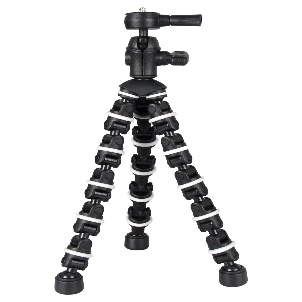 Bower Flexible Black Mini- Tripod - Silver (ST107) The Bower ST107 bendipod is a practical tripod with striped-gray bendable legs and 360-degree rotation for optimal maneuverability. It has a quick release that enables you to remove the camera easily and a sturdy grip that provides extra gripping power to most surfaces. It is designed to hold all manual and digital Slr cameras and camcorders and its tripod socket can support up to 5lbs. Color: Black.