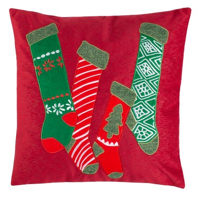 "Jovie Pillow - Green/Red - 18"" X 18"" - Safavieh"