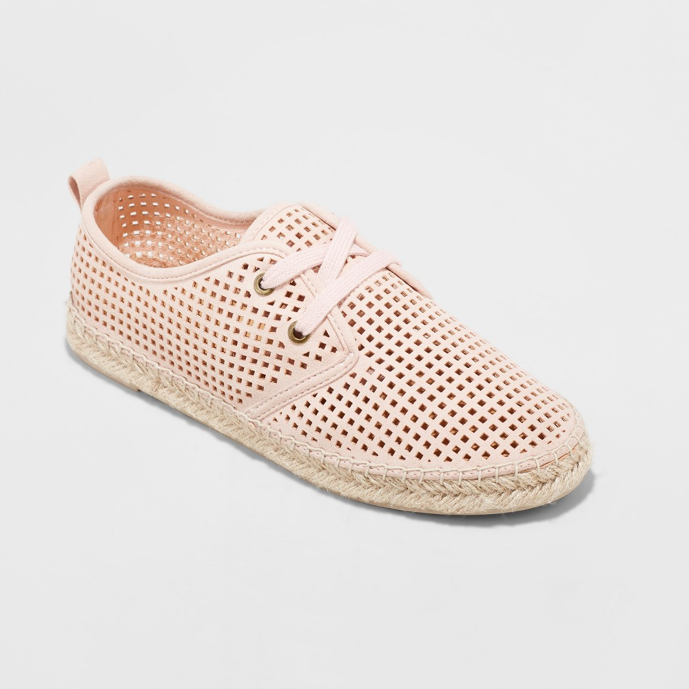 Women's Teala Laser Cut Lace up Sneakers Espadrille - Universal Thread Pink 10