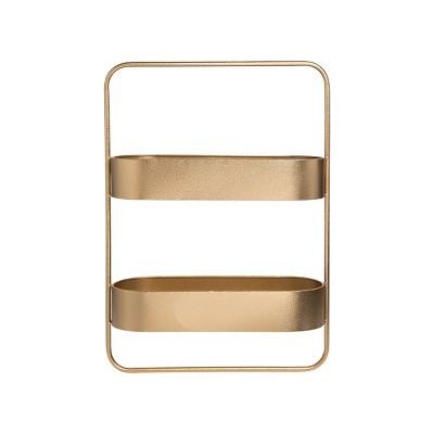 Gold Metal Two Tier Hanging Wall Shelf - Foreside Home & Garden