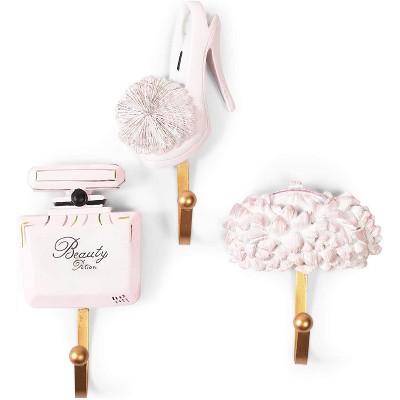 Juvale Set of 3 Iron Decorative Cute Wall Mounted Hanging Hooks Coat Hooks Feminine with Perfume Bottle, High Heel, Umbrella, Pink