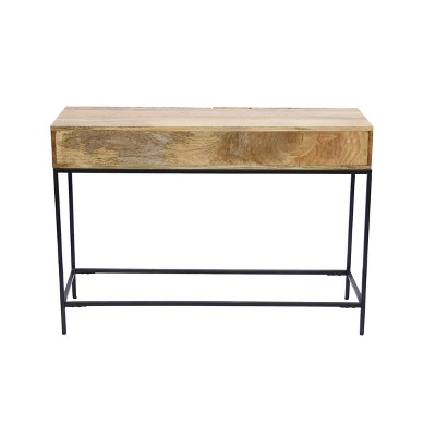 Exceptionnel Mango Wood And Metal Console Table Chocolate   The Urban Port
