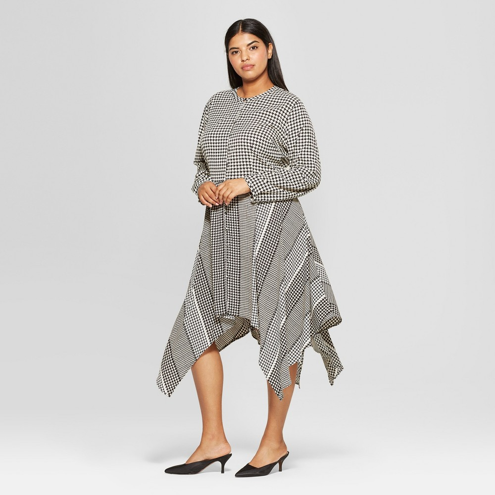 Women's Plus Size Long Sleeve Asymmetric Hem Midi Shirt Dress - Who What Wear Black/White 3X, Size: Small was $39.99 now $17.99 (55.0% off)
