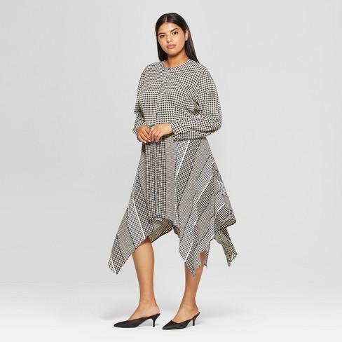 Womens Plus Size Long Sleeve Asymmetric Hem Midi Shirt Dress Who