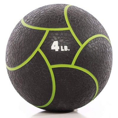 Power Systems Elite Power Textured Rubber 11 Inch Round Exercise Medicine Ball Prime Fitness Training Weight, 4 Pounds, Black/Green