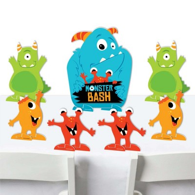 Big Dot of Happiness Monster Bash - Little Monster Birthday Party or Baby Shower Centerpiece Table Decorations - Tabletop Standups - 7 Pieces