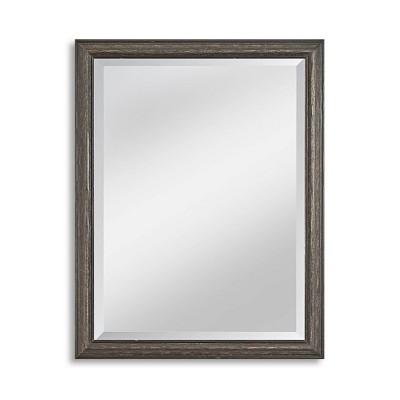 "27"" x 39"" Savannah Brushed Black Framed Beveled Glass Wall Mirror - Alpine Art and Mirror"