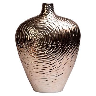 Rose Swirl Ceramic Vase Cognac 12  - Drew DeRose