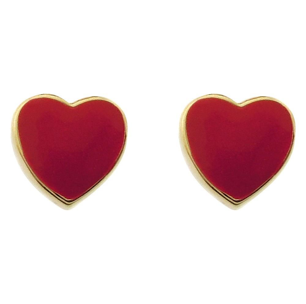 Target Ellen 18k Gold Overlay Enamel Heart Stud Earrings ...