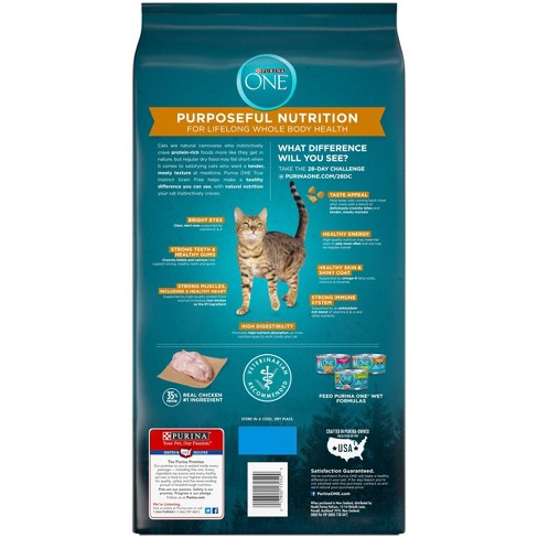 Purina ONE Natural Grain Free Dry Cat Food True Instinct Grain Free With  Real Chicken - 6 3lb Bag
