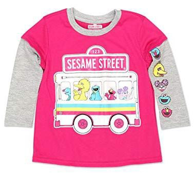 Girl's 123 Sesame Street Bus Ride Graphic Tee with Faux Layered Printed Long Sleeves for Infants