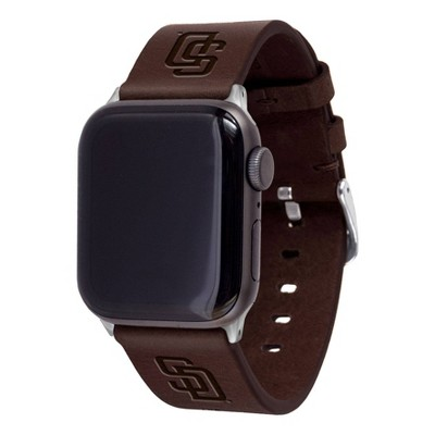 MLB San Diego Padres Apple Watch Compatible Leather Band 38/40mm - Brown