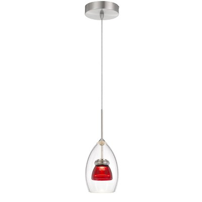 """4.25"""" Integrated LED Dimmable Double Glass Mini Pendant Red - Cal Lighting"""