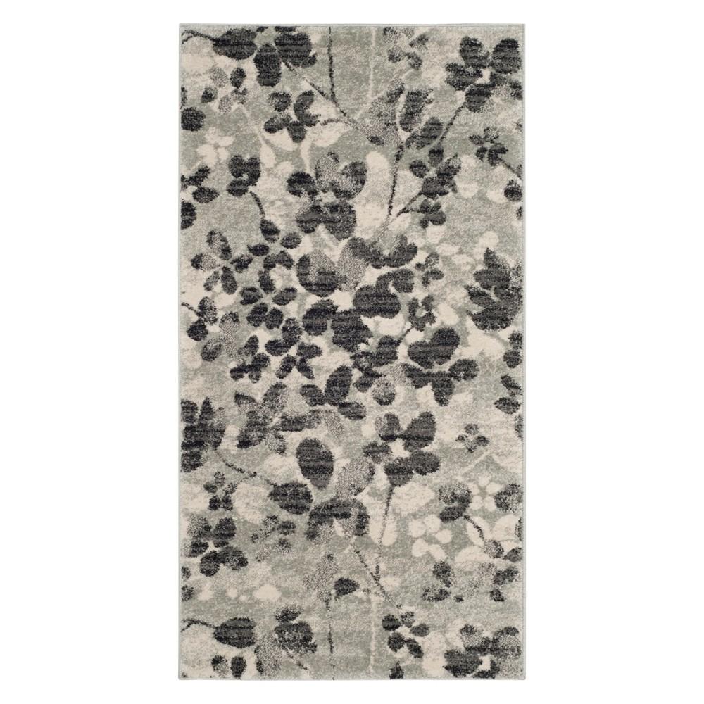 22X4 Floral Accent Rug Gray/Black - Safavieh Cheap